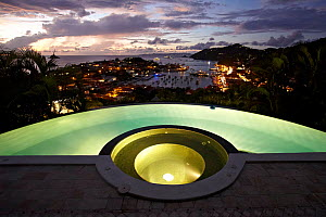 Hotel pool overlooking Gustavia Harbour, St Barthelemy, Caribbean, December 2011. For editorial use only. - Benoit Stichelbaut