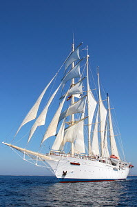 Cruise tall ship 'Star Clipper' under sail, Spain, May 2007. For editorial use only.  -  Sea & See