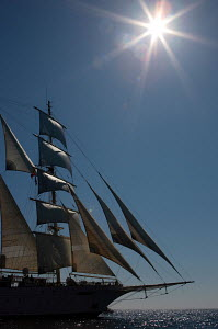 Cruise tall ship 'Star Clipper' sailing in the sun, Spain, May 2007. For editorial use only.  -  Sea & See