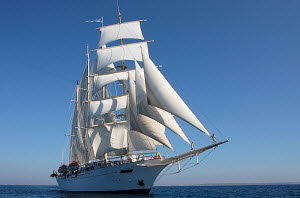 Cruise tall ship 'Star Clipper' under full sail, Spain, May 2007. For editorial use only.  -  Sea & See