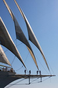 Sailwork on bowsprit of cruise tall ship 'Star Clipper', Spain, May 2007. For editorial use only.  -  Sea & See