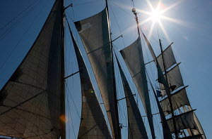 Majestic sails of cruise tall ship 'Star Clipper', Spain, May 2007. For editorial use only.  -  Sea & See