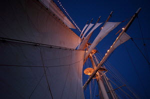 Looking up at mast and sails of cruise tall ship 'Star Clipper' under sail, Spain, May 2007. For editorial use only.  -  Sea & See