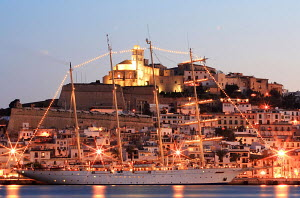 Cruise tall ship 'Star Clipper' lit up in the harbour at night, Spain, May 2007. For editorial use only.  -  Sea & See