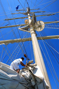 Sailwork on board cruise tall ship 'Star Clipper', Spain, May 2007. For editorial use only.  -  Sea & See