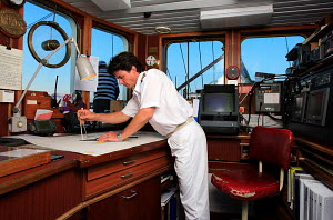 Third officer plotting route on board cruise tall ship 'Star Clipper', Spain, May 2007. For editorial use only. - Sea & See