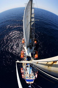Tall ship 'Star Clipper' viewed from top of mast, Spain, May 2007. For editorial use only.  -  Sea & See