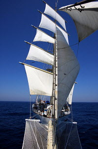 Tall ship 'Star Clipper' viewed from bowsprit, Spain, May 2007. For editorial use only.  -  Sea & See