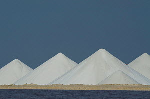 Salt mounds and evaporation ponds (sea salt production plant started in the 1600's and worked by african slaves) Cargill Solar Salt Works, Pekelmeer lagoon, Bonaire, Netherlands Antilles, Caribbean - Pete Oxford