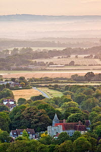 Michelham Priory viewed at dawn from Wilmington Hill, Wilmington, South Downs National Park, East Sussex, England, UK, July 2011 - Guy Edwardes / 2020VISION
