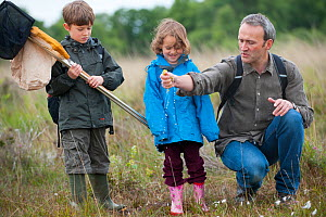 Family visiting the Westhay Nature Reserve, Somerset Levels, UK, June 2011, model released  -  Paul Harris / 2020VISION