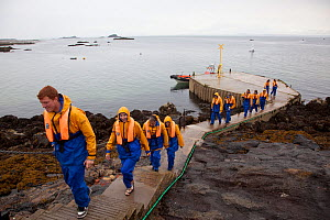 Group of tourists wearing waterproof clothing and life jackets landing on Bass Rock, North Berwick, Firth of Forth, Lothian, Scotland, UK, August 2011 - Peter Cairns / 2020VISION