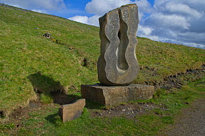 Carved stone artwork depicting the source of the River South Tyne, Alston Moor, Cumbria, UK, May 2011, Northern Pennines - Rob Jordan / 2020VISION