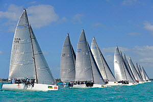 Melges 32 class start during a race on day 2 of Key West Race Week, Florida, USA, January 2012. All non-editorial uses must be cleared individually. - Rick Tomlinson
