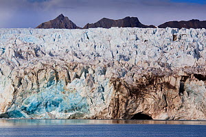 Leading edge of the Blomstrand Glacier as it enters King's Bay, Spitzbergen, Svalbard, Norway, July 2011.  -  Christophe Courteau