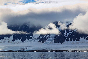 Coastal landscape with low cloud, Spitzbergen, Svalbard, Norway, July 2011  -  Christophe Courteau