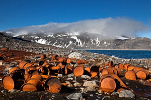 Rusty barrels at the historical site of Virgohamna where, in 1897, the hydrogen balloon 'Omen' (the Eagle) sailed northward in a failed attempt to reach the north pole with 3 Swedish ballooners led by...  -  Christophe Courteau