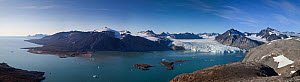 Panoramic landscape of the northern coast of King's Bay and Blomstrand Glacier, Spitzbergen, Svalbard, Norway, July 2011.  Digital blend of 29 images  -  Christophe Courteau