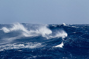 A rough and windy day in the Drake Passage with Force 9+ beaufort scale conditions. Drake Passage, South Atlantic, January.  -  Brent Stephenson