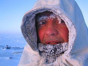 Portrait of wildlife cameraman Doug Allan in freezing conditions. Kong Karl's Land, Svalbard, Norway, March. Freeze frame book plate page 71. Model released.  -  Doug Allan