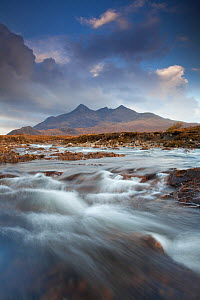 View looking towards the Black Cuillin mountains, with the River Sligachan in the foreground, Isle of Skye, Inner Hebrides, Scotland, UK, October 2010 - Mark Hamblin / 2020VISION