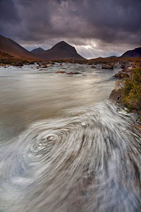 Swirling foam patterns in the River Sligachan, with Marsco in background, Isle of Skye, Inner Hebrides, Scotland, UK, October 2010 - Mark Hamblin / 2020VISION