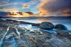 Coastal landscape at sunset, near Elgol, Isle of Skye, Inner Hebrides, Scotland, UK, October 2010. Did you know? Skye has good biodiversity for an island, with coastal, heather and highland ecologies. - Mark Hamblin / 2020VISION