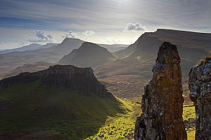 View of cliffs along the Trotternish landslip, Trotternish, Isle of Skye, Inner Hebrides. Scotland, UK, October 2010. Did you know? Trotternish landslip is the result of a landslide which is nearly 19... - Mark Hamblin / 2020VISION
