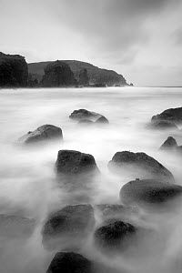 Long exposure of sea, with rocks in foreground, Bagh Dhail Mor, Isle of Lewis, Outer Hebrides, Scotland, UK, October 2011  -  Peter Cairns / 2020VISION