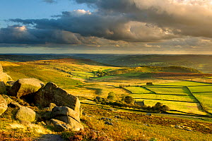 Scenic view of moorland from Stanage Edge, Peak District NP,  with fields in lower area, August 2011. Did you know? This National Park may be peaceful now, but during the Industrial Revolution it was...  -  Ben Hall / 2020VISION