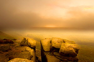 View from Higger Tor at dawn through mist, Peak District NP, UK, September 2011. Did you know? This national park has a long history of human habitation, with evidence of sheep and crop farming from 6...  -  Ben Hall / 2020VISION
