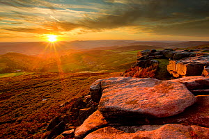 Scenic view from Higger Tor at sunset, Peak District NP, UK, September 2011  -  Ben Hall / 2020VISION