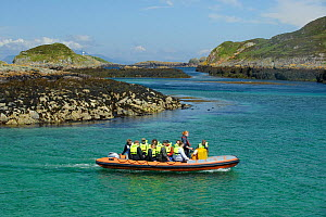 Tourists on board an inflatable boat, Cairns of Coll, Inner Hebrides, Scotland, UK, July 2011  -  Chris Gomersall / 2020VISION