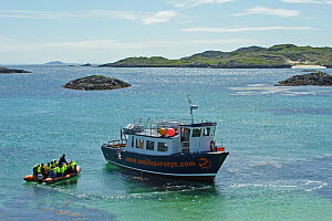 Sea Life Surveys passengers leaving the Cairns of Coll in an inflatable boat, heading towards the Sula Beag, a dedicated wildlife watching boat, Inner Hebrides, Scotland, UK, July 2011  -  Chris Gomersall / 2020VISION
