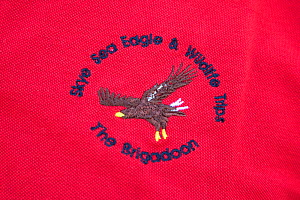 Logo of Brigadoon, a tourist boat operator specialising in trips to see White-tailed sea eagle, Portree, Skye, Inner Hebrides, Scotland, UK, June  -  Peter Cairns / 2020VISION