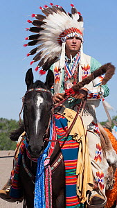 A traditionally dressed Crow Indian man rides a quarter horse during the parade at the annual Indian Crow Fair, Crow Agency, near Billings, Montana, USA, August 2011  -  Kristel Richard