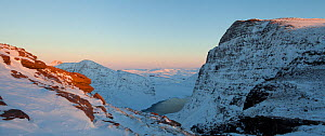 Panoramic view of Sgurr an Fhidhleir and Lochan Tuath, seen from Ben More Coigach, Wester Ross, UK, December 2010 - Mark Hamblin / 2020VISION
