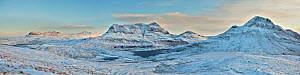 Panoramic view of Cul Mor, Cul Beag and Suilven in winter, Coigach, Wester Ross, Scotland, UK, December 2010  -  Mark Hamblin / 2020VISION