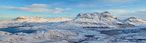 View from Stac Pollaidh towards Cul Mor and Suilven in winter, Coigach, Wester Ross, Scotland, UK, December 2010  -  Mark Hamblin / 2020VISION
