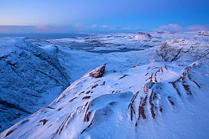 View from Sgurr an Fhidhleir towards Stac Pollaidh at dusk, Coigach, Wester Ross, Scotland, UK, December 2010 - Mark Hamblin / 2020VISION
