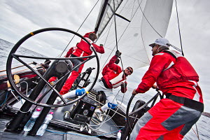 Action on board 'Synergy' at the RC44 Puerto Calero Cup, Lanzarote, Canary Islands, February 2012. For editorial use only.  -  Sea & See