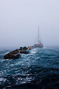Scup fishermen in fog off Sakonnet Point, Rhode Island, USA, May 2011. All non-editorial uses must be cleared individually.  -  Onne van der Wal