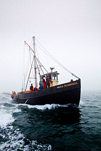 Scup fishermen making their way through fog off Sakonnet Point, Rhode Island, USA, May 2011. All non-editorial uses must be cleared individually.  -  Onne van der Wal