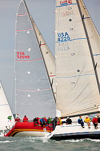 Crews hiking out on startline during the New York Yacht Club Annual Spring Regatta, Rhode Island, USA, June 2011. All non-editorial uses must be cleared individually.  -  Onne van der Wal