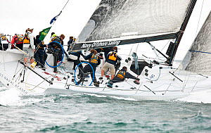 Action on board yacht during the New York Yacht Club Annual Spring Regatta, Rhode Island, USA, June 2011. All non-editorial uses must be cleared individually.  -  Onne van der Wal