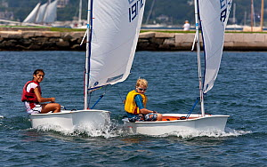 Children sailing Laser Bug dinghies at the Public Sailing Centre, Newport, Rhode Island, USA, August 2011. All non-editorial uses must be cleared individually.  -  Onne van der Wal