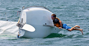 Boy attempting to right capsized Laser Bug dinghy at the Public Sailing Centre, Newport, Rhode Island, USA, August 2011. All non-editorial uses must be cleared individually. - Onne van der Wal