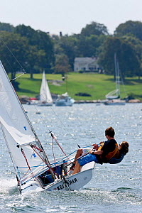 Girl and boy sailing Laser Bug dinghy at the Public Sailing Centre, Newport, Rhode Island, USA, August 2011. All non-editorial uses must be cleared individually.  -  Onne van der Wal