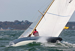 Yacht heeling in choppy conditions during the Classic Yacht Regatta, Newport, Rhode Island, September 2011. All non-editorial uses must be cleared individually.  -  Onne van der Wal