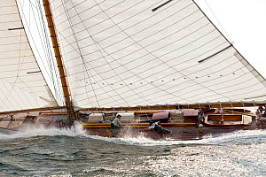 Yacht with decks awash during the Classic Yacht Regatta, Newport, Rhode Island, September 2011. All non-editorial uses must be cleared individually.  -  Onne van der Wal